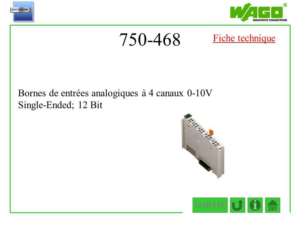 750-468 SORTIE Bornes de entrées analogiques à 4 canaux 0-10V Single-Ended; 12 Bit Fiche technique