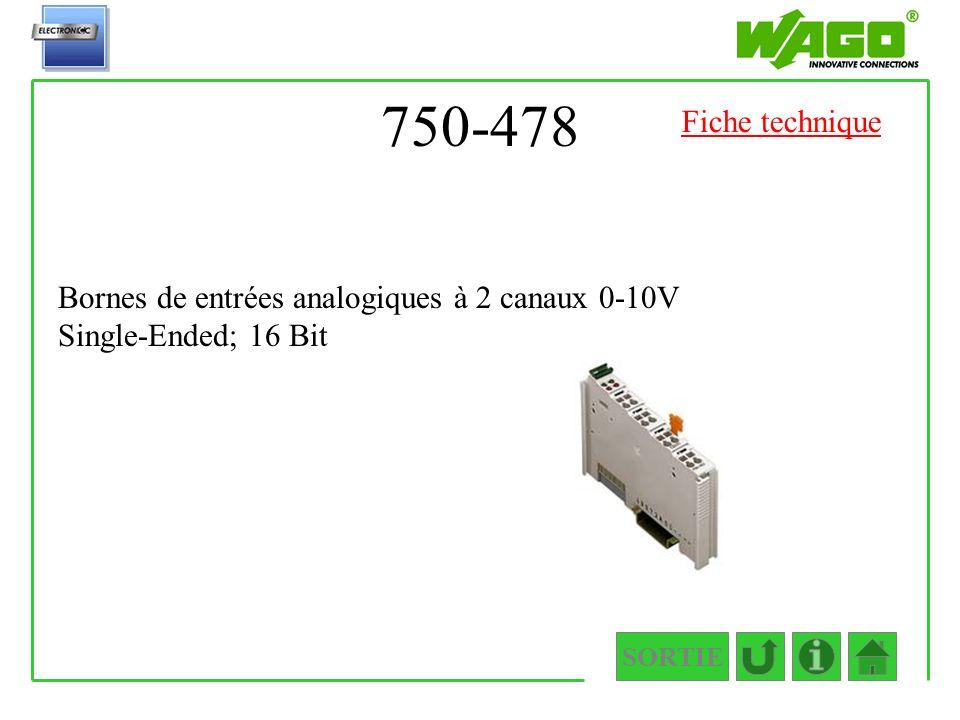 750-478 SORTIE Bornes de entrées analogiques à 2 canaux 0-10V Single-Ended; 16 Bit Fiche technique