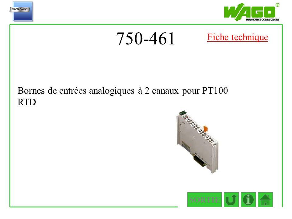 750-461 SORTIE Bornes de entrées analogiques à 2 canaux pour PT100 RTD Fiche technique