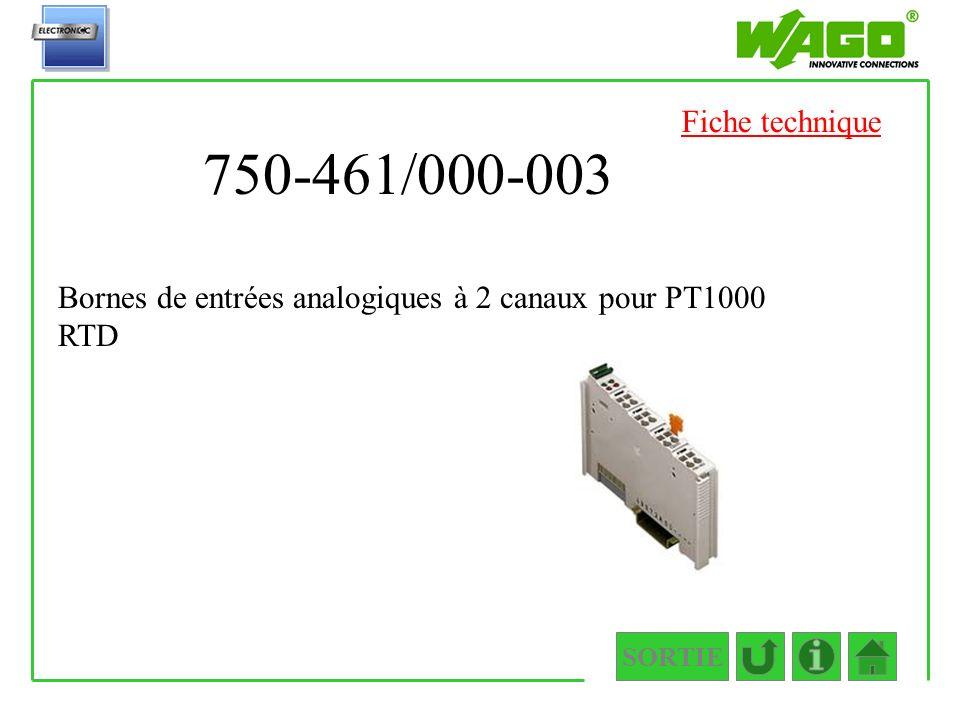 750-461/000-003 SORTIE Bornes de entrées analogiques à 2 canaux pour PT1000 RTD Fiche technique
