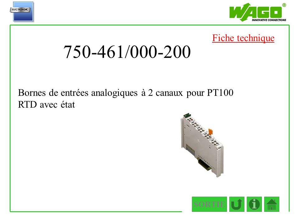 750-461/000-200 SORTIE Bornes de entrées analogiques à 2 canaux pour PT100 RTD avec état Fiche technique