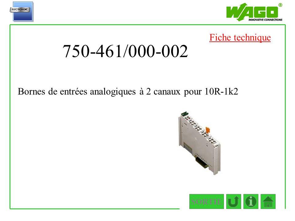 750-461/000-002 SORTIE Bornes de entrées analogiques à 2 canaux pour 10R-1k2 Fiche technique