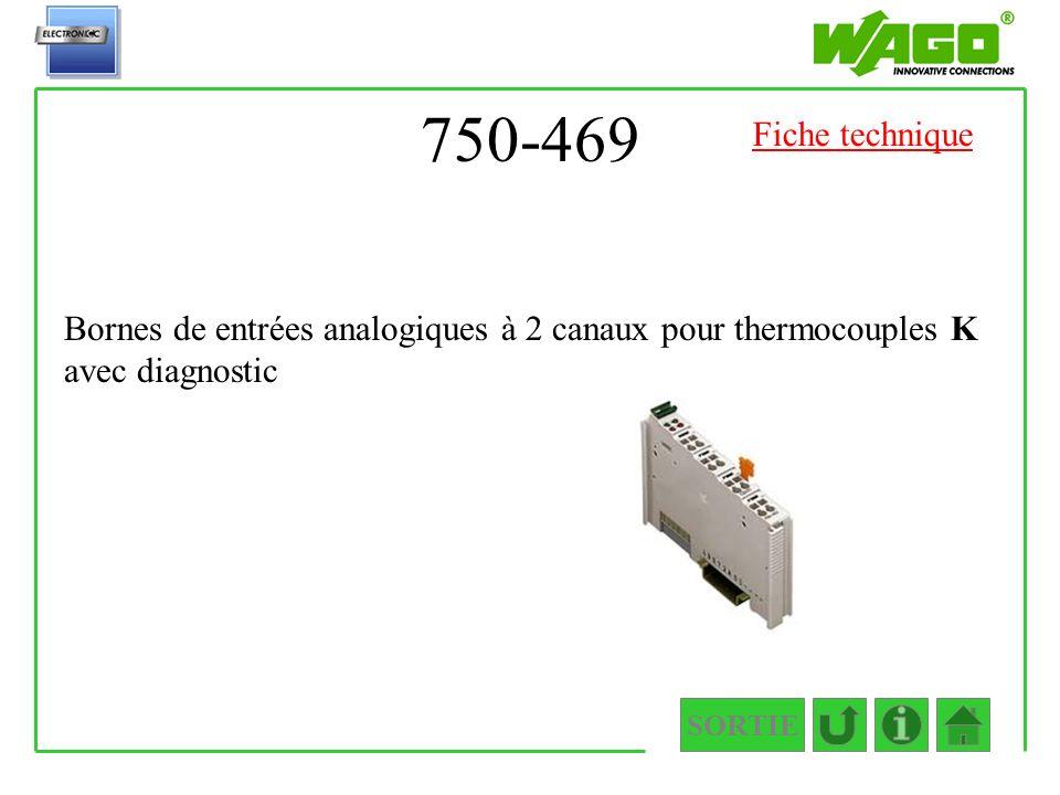 750-469 SORTIE Bornes de entrées analogiques à 2 canaux pour thermocouples K avec diagnostic Fiche technique