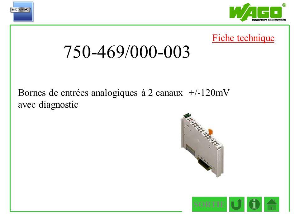750-469/000-003 SORTIE Bornes de entrées analogiques à 2 canaux +/-120mV avec diagnostic Fiche technique