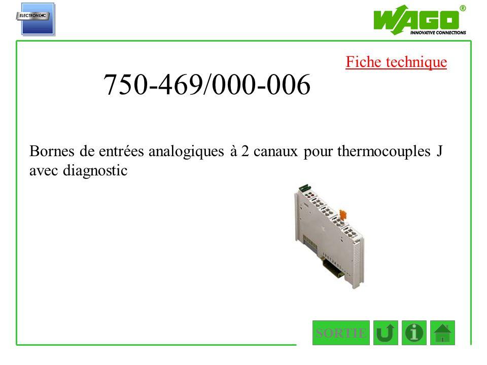 750-469/000-006 SORTIE Bornes de entrées analogiques à 2 canaux pour thermocouples J avec diagnostic Fiche technique