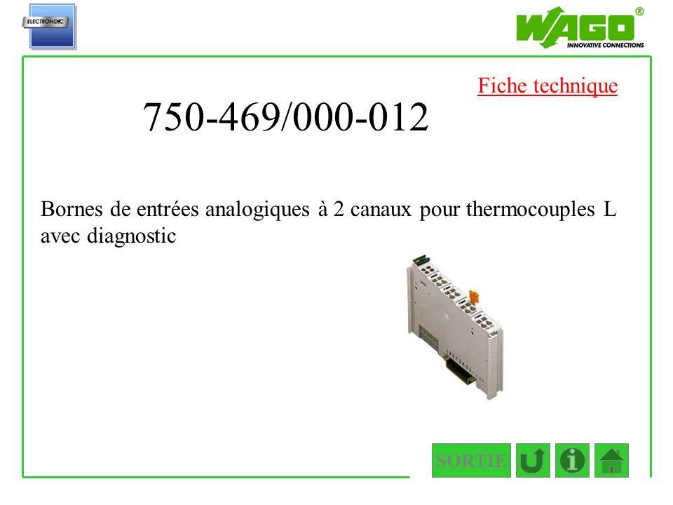 750-469/000-012 SORTIE Bornes de entrées analogiques à 2 canaux pour thermocouples L avec diagnostic Fiche technique