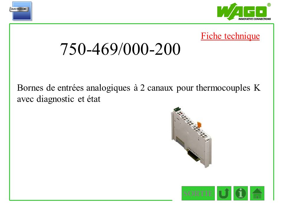 750-469/000-200 SORTIE Bornes de entrées analogiques à 2 canaux pour thermocouples K avec diagnostic et état Fiche technique