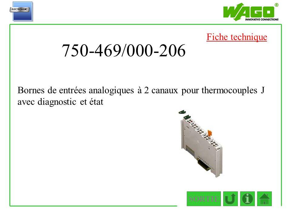 750-469/000-206 SORTIE Bornes de entrées analogiques à 2 canaux pour thermocouples J avec diagnostic et état Fiche technique