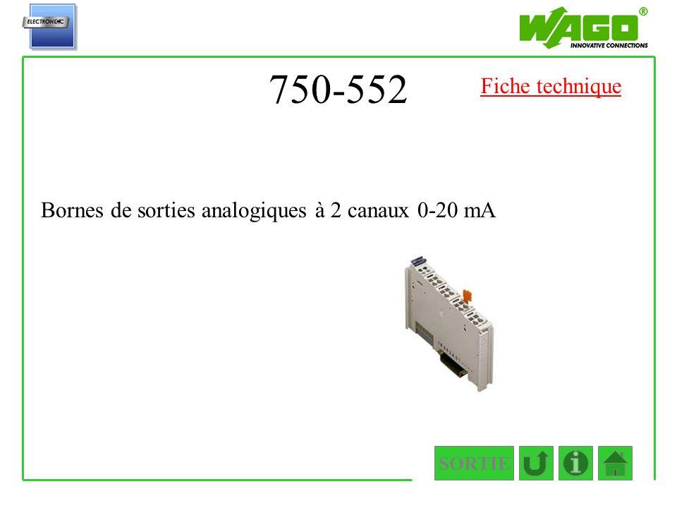 750-552 SORTIE Bornes de sorties analogiques à 2 canaux 0-20 mA Fiche technique