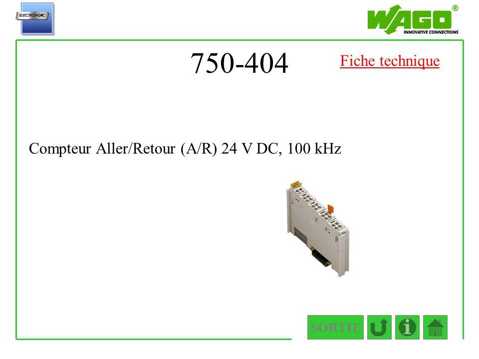 750-404 SORTIE Compteur Aller/Retour (A/R) 24 V DC, 100 kHz Fiche technique