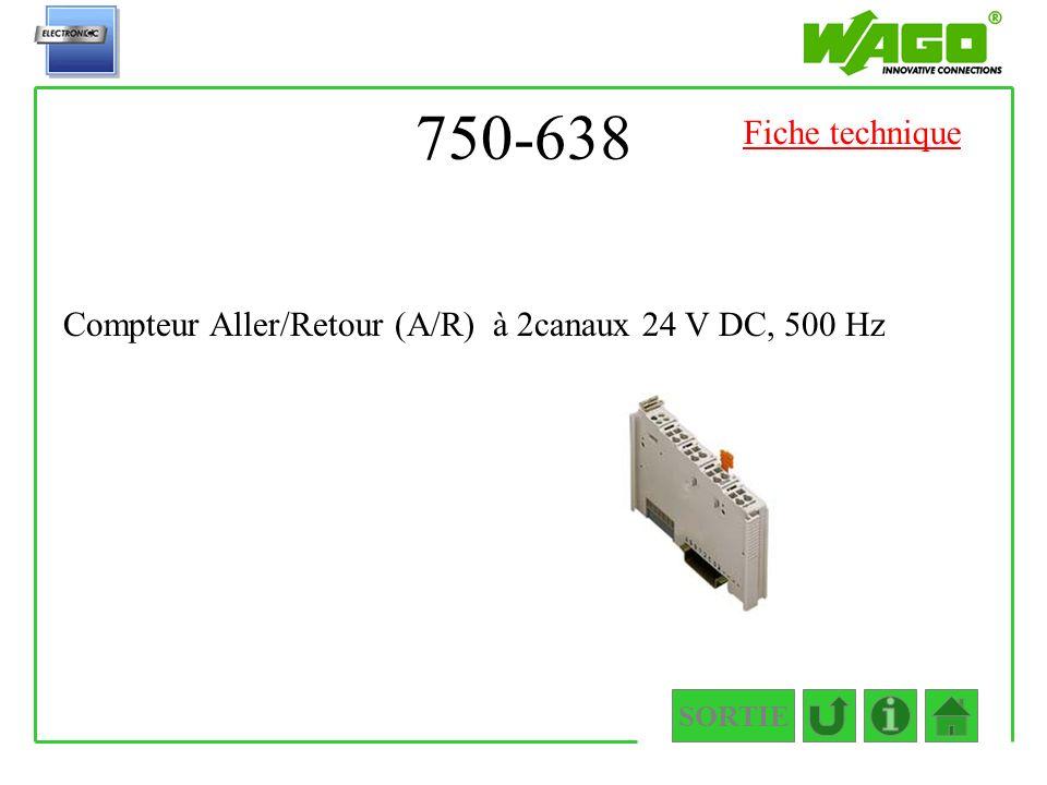 750-638 SORTIE Compteur Aller/Retour (A/R) à 2canaux 24 V DC, 500 Hz Fiche technique