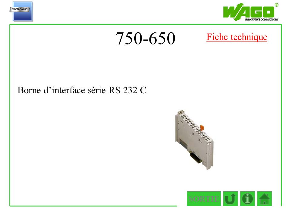 750-650 SORTIE Borne dinterface série RS 232 C Fiche technique