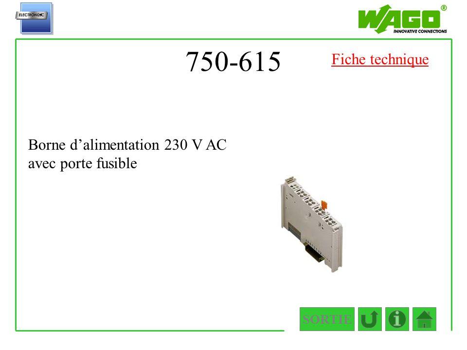 750-615 SORTIE Borne dalimentation 230 V AC avec porte fusible Fiche technique