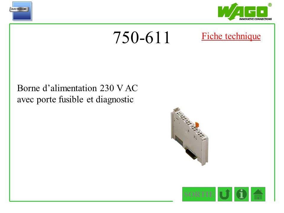 750-611 SORTIE Borne dalimentation 230 V AC avec porte fusible et diagnostic Fiche technique