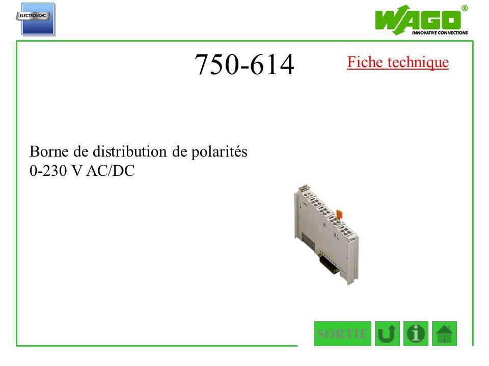 750-614 SORTIE Borne de distribution de polarités 0-230 V AC/DC Fiche technique