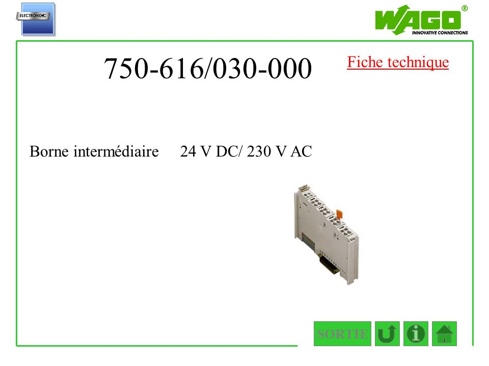 750-616/030-000 SORTIE Borne intermédiaire 24 V DC/ 230 V AC Fiche technique