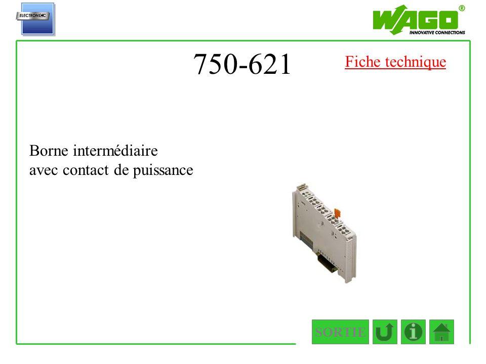 750-621 SORTIE Borne intermédiaire avec contact de puissance Fiche technique
