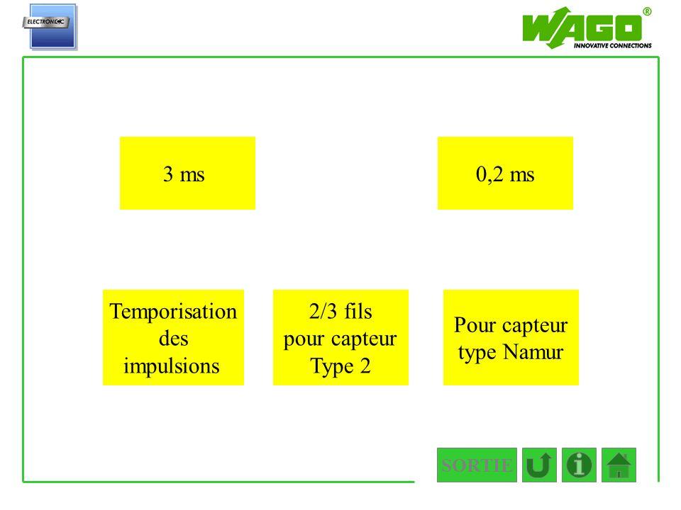 SORTIE 4.1.1.1 3 ms0,2 ms Temporisation des impulsions 2/3 fils pour capteur Type 2 Pour capteur type Namur
