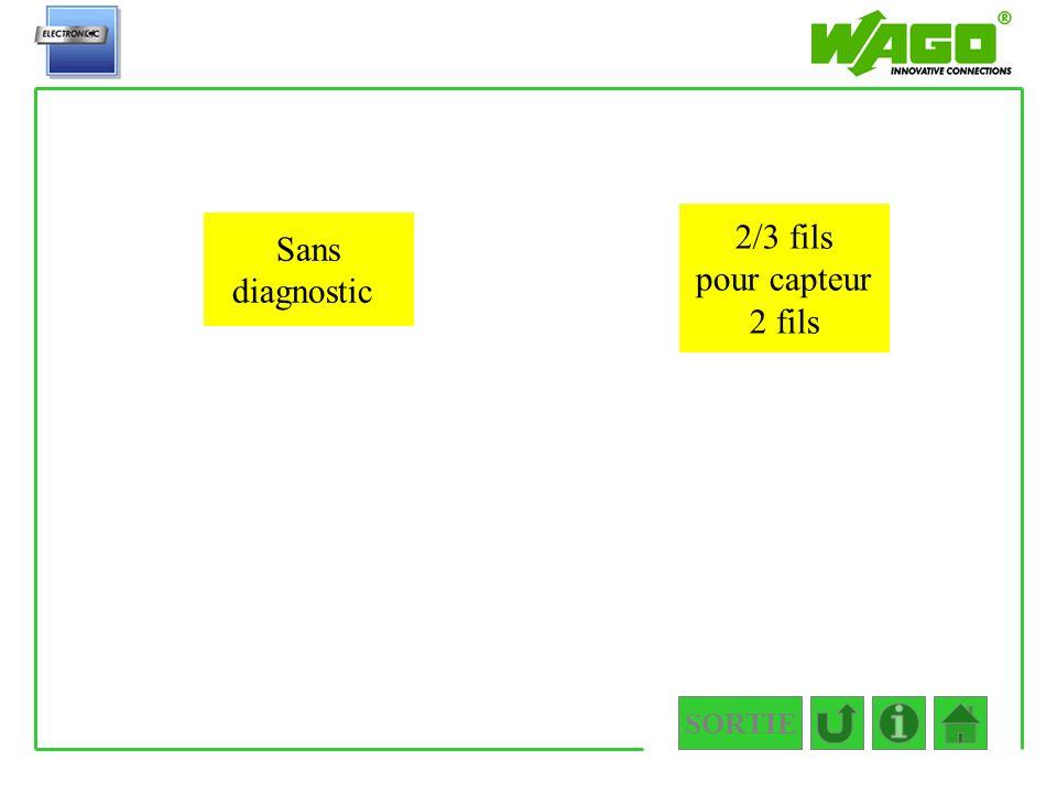 SORTIE 4.1.1.1.2 Sans diagnostic 2/3 fils pour capteur 2 fils