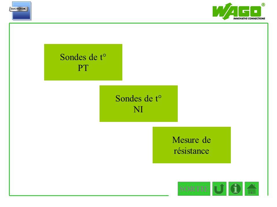 SORTIE 4.3.3 Sondes de t° PT Sondes de t° NI Mesure de résistance