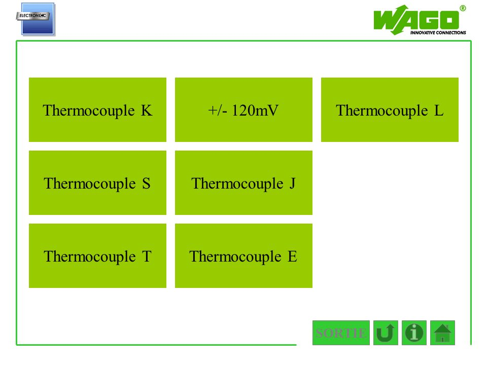 SORTIE 4.3.4 Thermocouple E Thermocouple L Thermocouple J +/- 120mV Thermocouple T Thermocouple S Thermocouple K