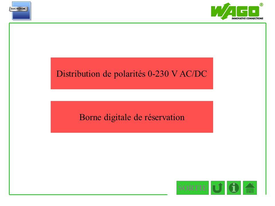SORTIE 4.5.3 Distribution de polarités 0-230 V AC/DC Borne digitale de réservation