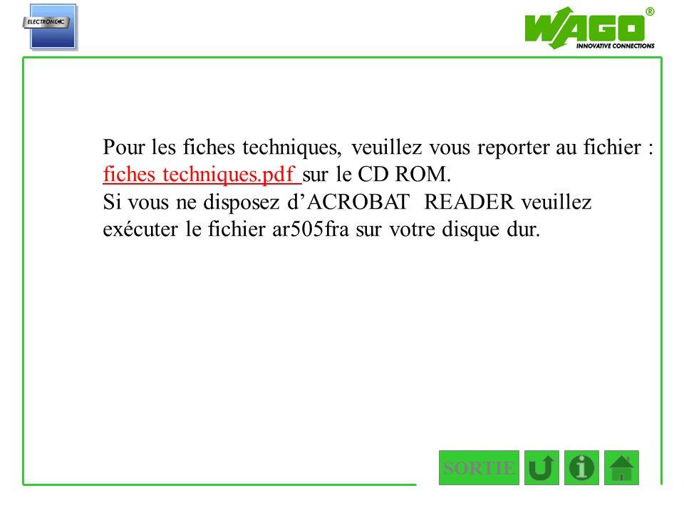 SORTIE Fiches techniques Pour les fiches techniques, veuillez vous reporter au fichier : fiches techniques.pdf sur le CD ROM. fiches techniques.pdf Si