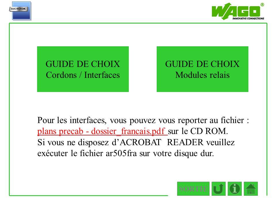 SORTIE interfaces Pour les interfaces, vous pouvez vous reporter au fichier : plans precab - dossier_francais.pdf sur le CD ROM. plans precab - dossie