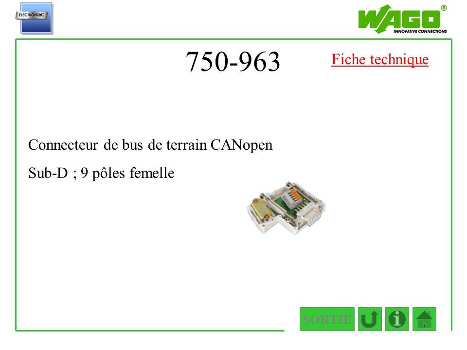 750-963 SORTIE Connecteur de bus de terrain CANopen Sub-D ; 9 pôles femelle Fiche technique