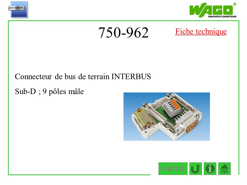 750-962 SORTIE Connecteur de bus de terrain INTERBUS Sub-D ; 9 pôles mâle Fiche technique