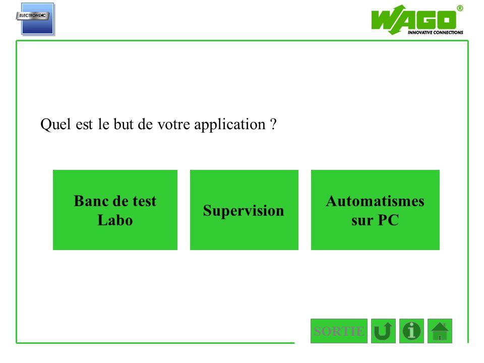 SORTIE 1.PC Quel est le but de votre application ? Banc de test Labo Automatismes sur PC Supervision
