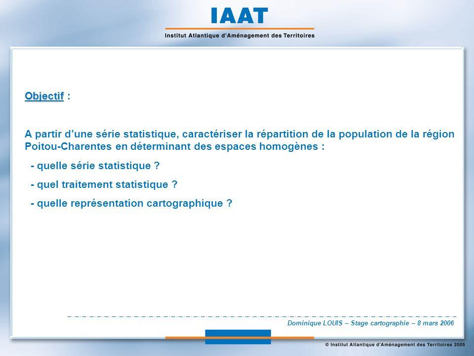Dominique LOUIS – Stage cartographie – 8 mars 2006 Objectif Objectif : A partir dune série statistique, caractériser la répartition de la population de la région Poitou-Charentes en déterminant des espaces homogènes : - quelle série statistique .