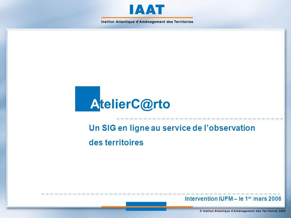 AtelierC@rto Un SIG en ligne au service de lobservation des territoires Intervention IUFM – le 1 er mars 2006