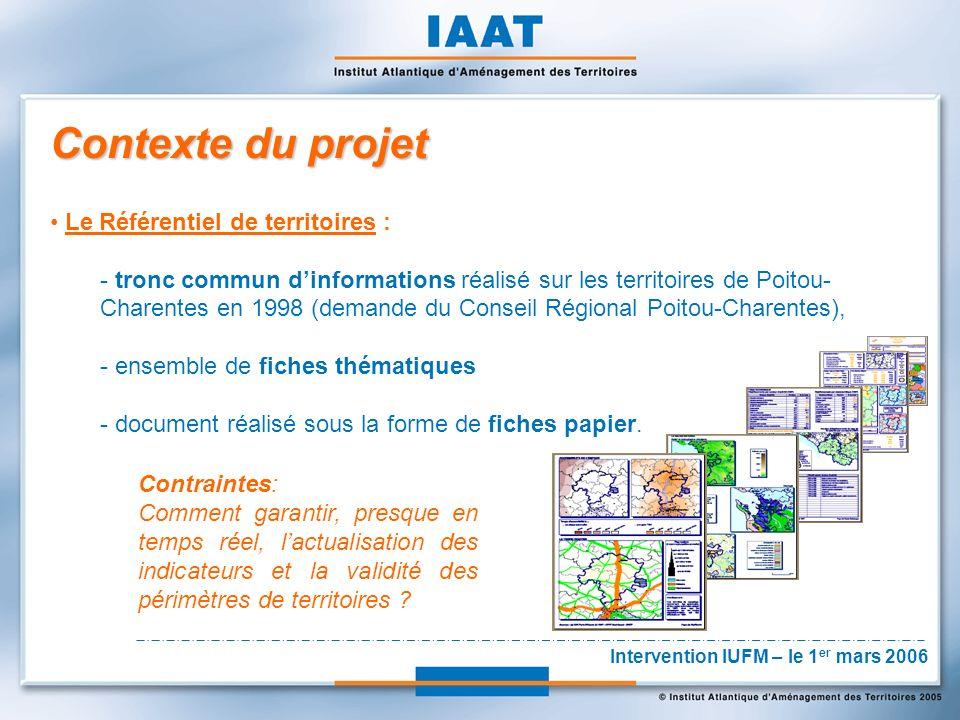 Contexte du projet Le Référentiel de territoires : - tronc commun dinformations réalisé sur les territoires de Poitou- Charentes en 1998 (demande du Conseil Régional Poitou-Charentes), - ensemble de fiches thématiques - document réalisé sous la forme de fiches papier.