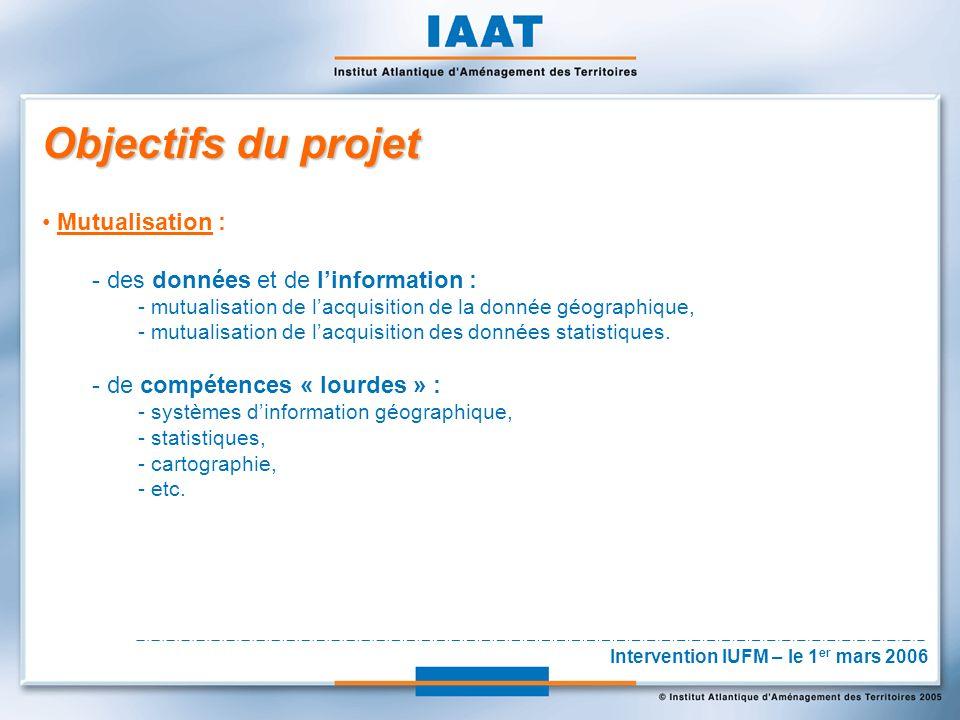 Objectifs du projet Mutualisation : - des données et de linformation : - mutualisation de lacquisition de la donnée géographique, - mutualisation de lacquisition des données statistiques.