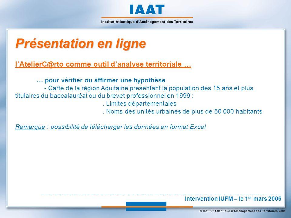 Présentation en ligne lAtelierC@rto comme outil danalyse territoriale … … pour vérifier ou affirmer une hypothèse - Carte de la région Aquitaine présentant la population des 15 ans et plus titulaires du baccalauréat ou du brevet professionnel en 1999 :.