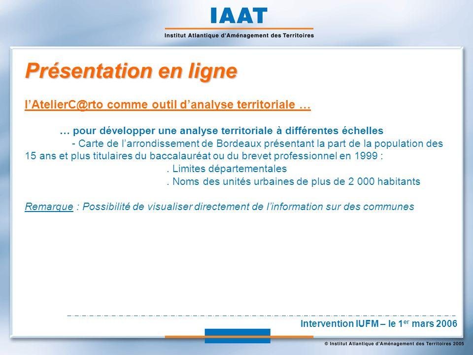 Présentation en ligne lAtelierC@rto comme outil danalyse territoriale … … pour développer une analyse territoriale à différentes échelles - Carte de larrondissement de Bordeaux présentant la part de la population des 15 ans et plus titulaires du baccalauréat ou du brevet professionnel en 1999 :.