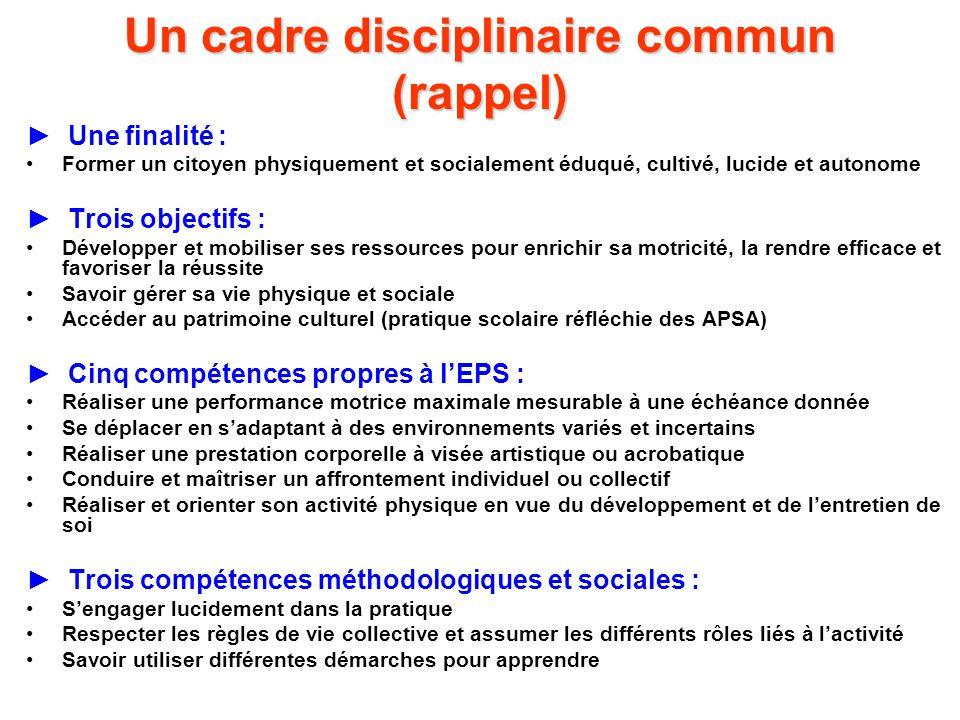 Un cadre disciplinaire commun (rappel) Une finalité : Former un citoyen physiquement et socialement éduqué, cultivé, lucide et autonome Trois objectif