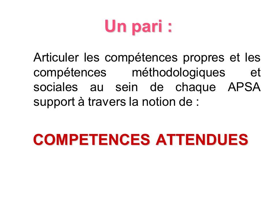 Un pari : Articuler les compétences propres et les compétences méthodologiques et sociales au sein de chaque APSA support à travers la notion de : COM