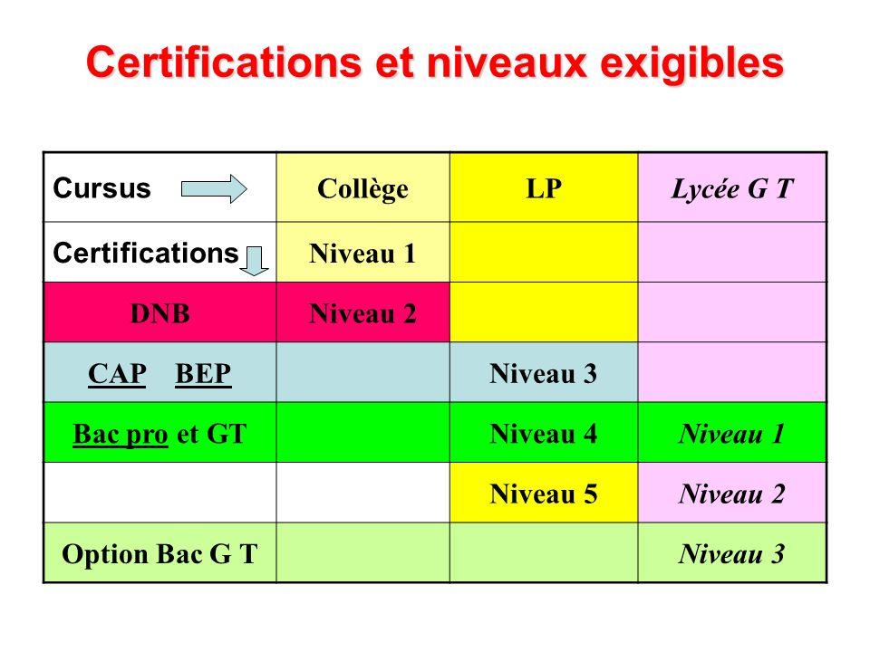 Certifications et niveaux exigibles Cursus CollègeLPLycée G T Certifications Niveau 1 DNBNiveau 2 CAP BEPNiveau 3 Bac pro et GTNiveau 4Niveau 1 Niveau