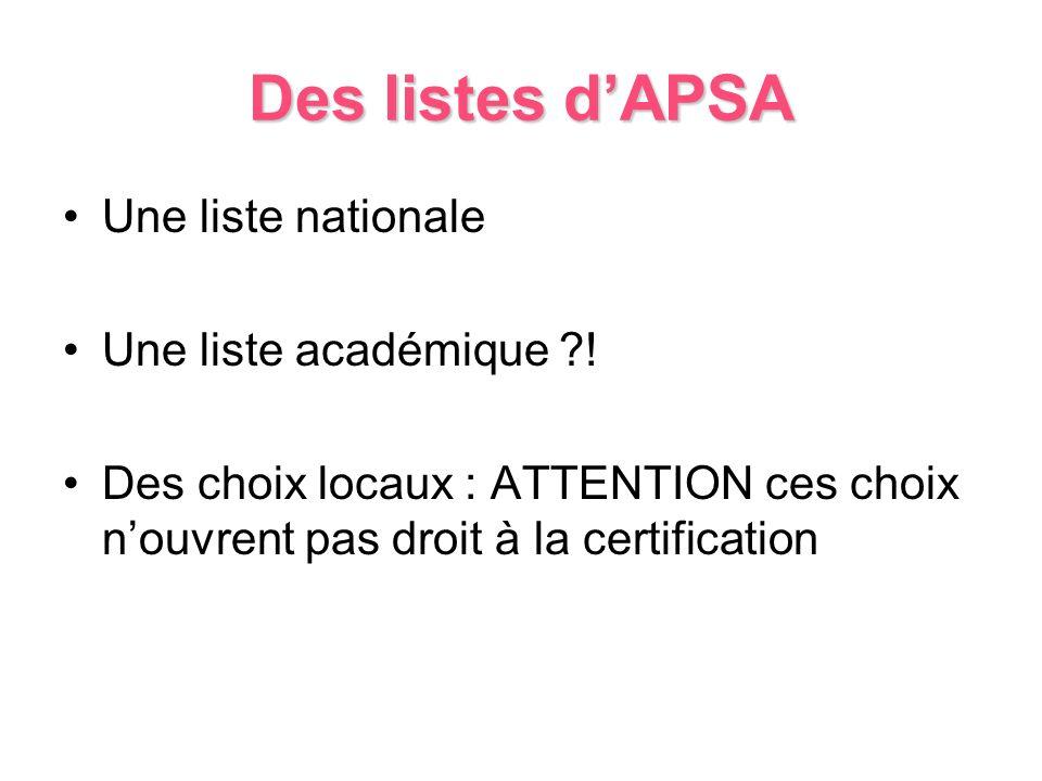 Des listes dAPSA Une liste nationale Une liste académique ?! Des choix locaux : ATTENTION ces choix nouvrent pas droit à la certification