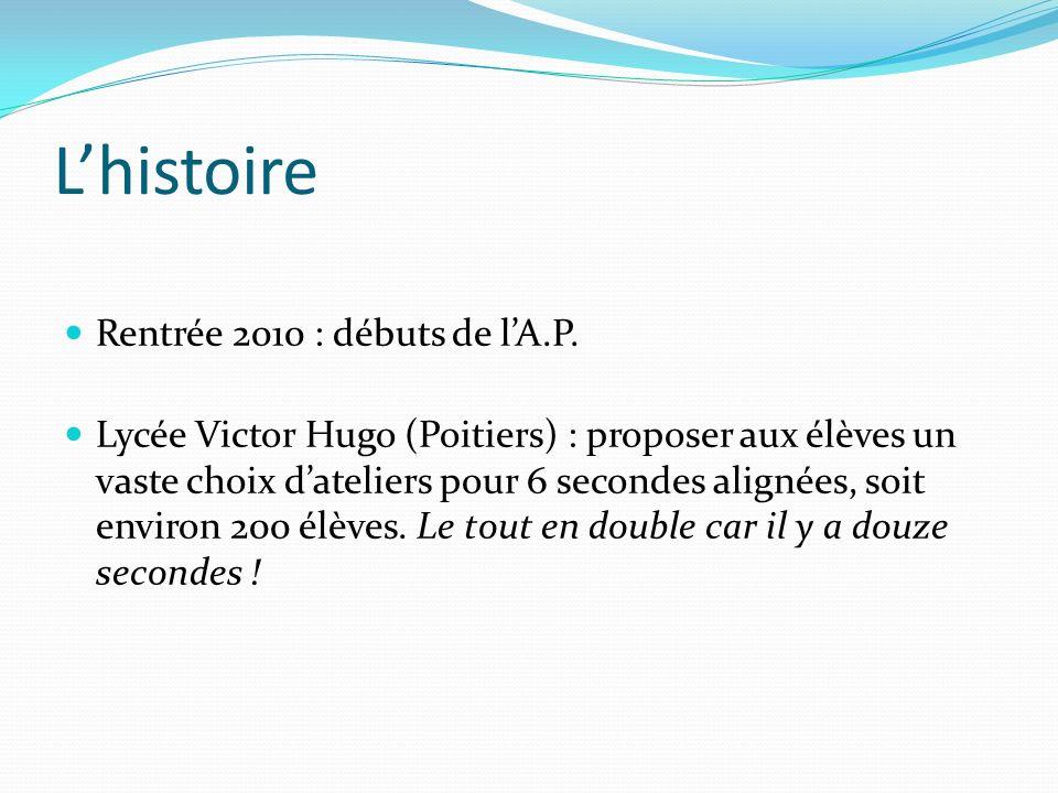 Lhistoire Rentrée 2010 : débuts de lA.P. Lycée Victor Hugo (Poitiers) : proposer aux élèves un vaste choix dateliers pour 6 secondes alignées, soit en