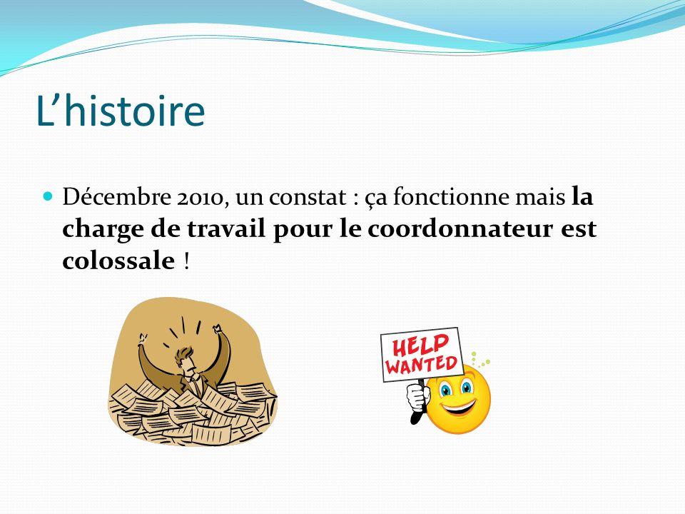 Lhistoire Décembre 2010, un constat : ça fonctionne mais la charge de travail pour le coordonnateur est colossale !