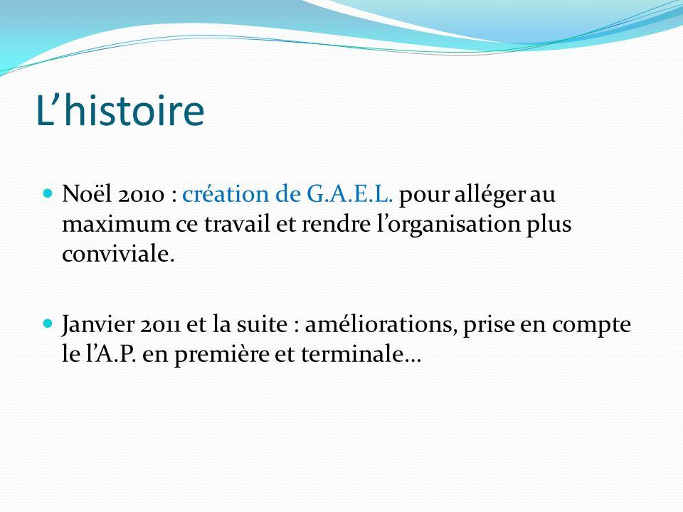 Lhistoire Noël 2010 : création de G.A.E.L. pour alléger au maximum ce travail et rendre lorganisation plus conviviale. Janvier 2011 et la suite : amél