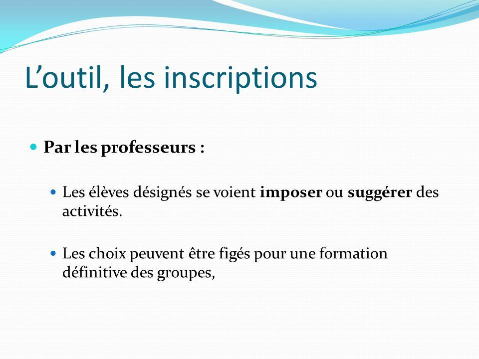Loutil, les inscriptions Par les professeurs : Les élèves désignés se voient imposer ou suggérer des activités. Les choix peuvent être figés pour une