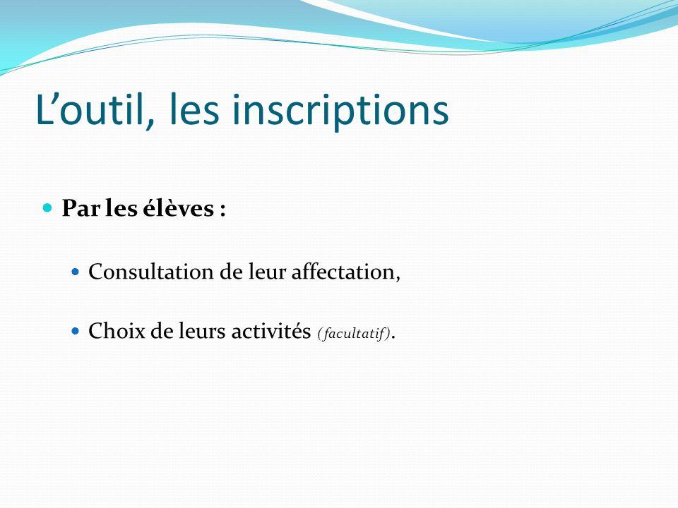 Loutil, les inscriptions Par les élèves : Consultation de leur affectation, Choix de leurs activités (facultatif).