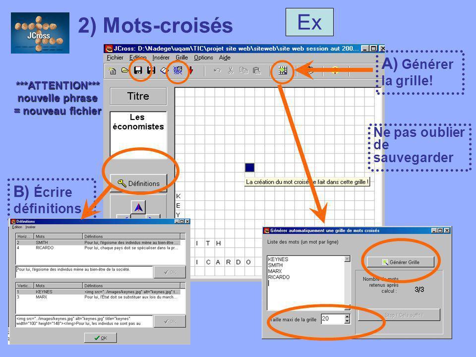 UQAM, FPE 7650, Version 2005 2) Mots-croisés A) Générer la grille.