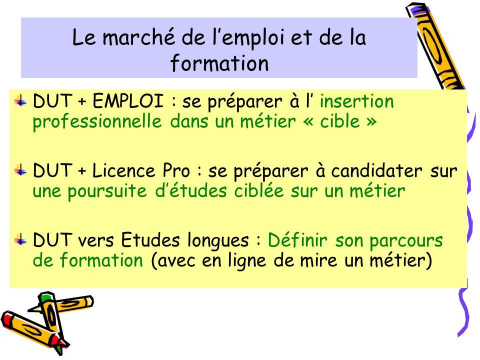 Le marché de lemploi et de la formation Les différents types de poursuites détudes longues - analyse de documents : écrits, sites web, témoignages….