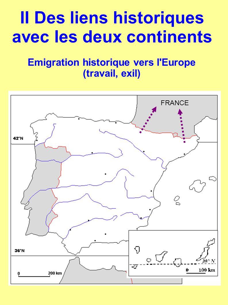 Emigration historique vers l'Europe (travail, exil) FRANCE II Des liens historiques avec les deux continents