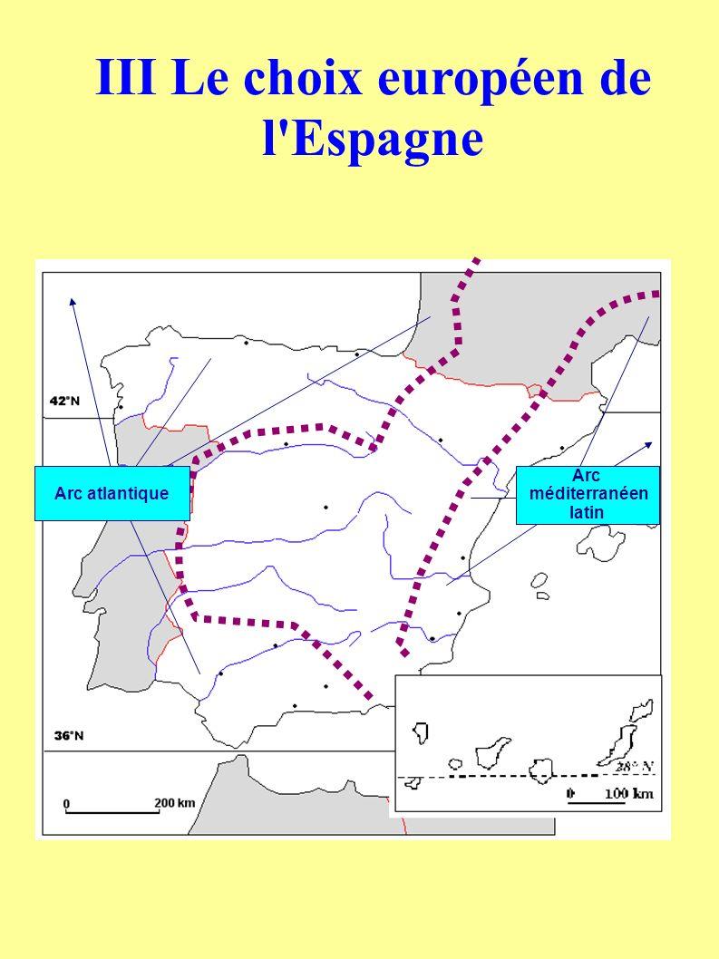 Arc atlantique Arc méditerranéen latin III Le choix européen de l Espagne